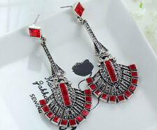 1 Pair Elegant Red Crystal Rhinestone  Ear Drop Dangle Stud long  Earrings 91