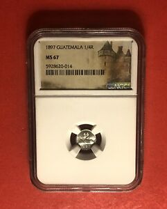 GUATEMALA-1897-OUTSTANDING UNC 1/4 REAL SILVER COIN , GRADED BY NGC MS67.