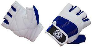 Nibra Gym Wear USA Gym Gloves White/Blue with Wrist Closure for Man & Women.