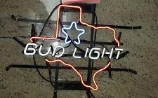 "Rare New BUD LIGHT Texas State Outline Map Art Garage Beer Bar Neon Sign 16""x14"""