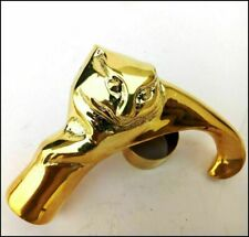 Brass Designer Antique Style Cane Walking Stick Vintage Cat head handle Item
