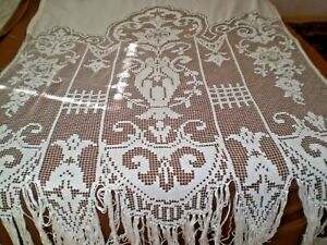 Vintage Stunning Antique fabric knitted filet lace curtain