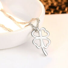 20PCs Charm Pendants Clover-shaped Stainless Steel Silver Tone 11mm x7mm GW