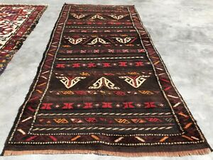 Authentic Hand Knotted Vintage Afghan Distarkwan Wool Area Rug 5 x 2 FT