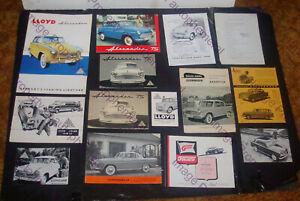 LOT of 14 1950s LLOYD & GOLIATH German BROCHURES Catalogs PROSPEKT Alexander VAN