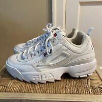 FILA Disruptor II Premium Fashion Sneakers White Leather Women's Size 7.5