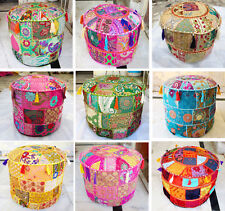 Pouf Round Patchwork Ottoman Cover Indian Footstool Vintage Handmade Traditional