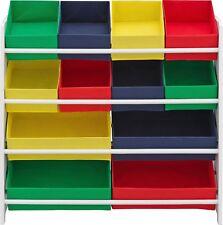 Child's Storage 4 Tier White Frame Unit With Bins