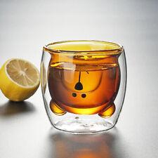 Cute Brown Bear Coffee Cup Double Layer Clear Glass Mug for Tea Milk Fruit Juice