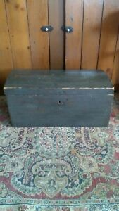 Antique Early 18th C Wood Dome Top Storage Chest Paper Interior Old Blue Paint