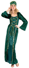 Ladies Medieval Costume Marion Long Green Robin Hood Fancy Dress Outfit 12-14