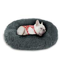 MOREFUN Rainbow Soft Dog Cat Bed Donut Cuddler Faux Fur Round Washable Pet Bed
