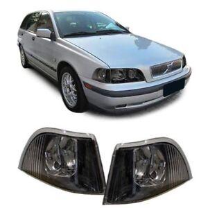 Clear Indicators in black smoke Pair for Volvo V40 Sedan S40 Estate 97-00