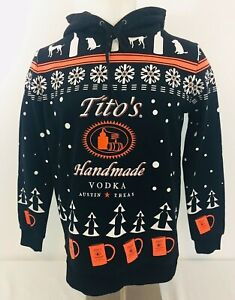 Tito's Handmade Vodka Hooded Sweatshirt Embroidered Sweatshirt Sz M