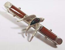 ANTIQUE SILVER SCOTTISH AGATE BLOODSTONE SWALLOW BIRD BAR BROOCH TIE PIN 1904