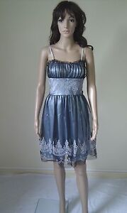 MORGAN & CO Cocktail Party Dress. Stunning Silver Grey. Evening / Dinner Size 8