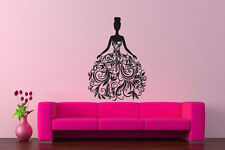 Wall Vinyl Sticker Decals Mural Design Beautiful Princess Dress Queen Girl #414