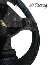 FOR PEUGEOT 306 BLACK PERFORATED LEATHER STEERING WHEEL COVER LIGHT BLUE STITCH