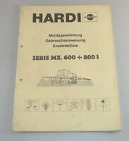 Parts Catalog/Spare Parts List Hardi Ackerspritze Series MX600 +800 I