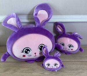 3 x Squishimals Soft Plush Toy Set - Becky The Lilac Bunny 32cm, 20cm,10cm