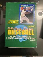 1991 Score Baseball Cards Series 1 Sealed Box 36 Pack 16 Player +1 Magic Motion