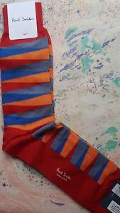 Paul Smith Mens Mid Length Italian Socks Optical Stripe Red F604 One Size Cotton