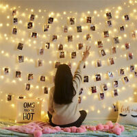 LED Fairy String Lights Photo Picture Hanging Peg Clips Home Wedding Party Decor