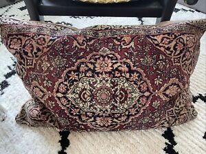 vintage wool rug pillow 30x21 pink Tan red black
