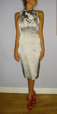 AUTHENTIC KAREN MILLEN DRESS size 16 OCCASION EVENING COCKTAIL SILVER DRESS XMAS