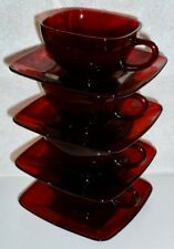 8 PIECE VTG ANCHOR HOCKING ROYAL RUBY RED GLASS CHARM SQUARE CUPS & SAUCERS
