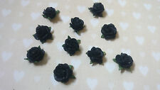 Black Gothic Mulberry Paper Roses, Shabby Chic 15mm, Vintage, Wedding, Craft