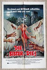DIE SISTER DIE ORIGINAL 1972 1SHT MOVIE POSTER FLD EX