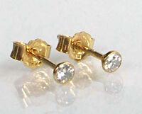 585 ECHT GOLD *** 1 Paar Zirkonia Ohrstecker 3 mm