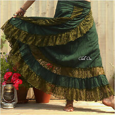 HIPPY, MAXI WRAP SKIRT, DOUBLE TIER LACE, GREEN, BOHO, GYPSY, SIZE 8 10 12 14