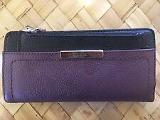 RELIC Caraway Collection Checkbook Wallet RAISIN & BLACK  New!