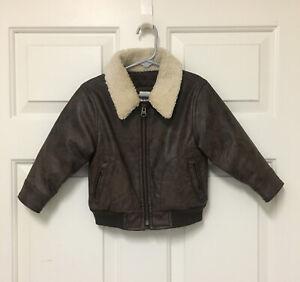 BABY GAP Brown Leather Aviator Flight Jacket Shearling Collar 18-24 Months
