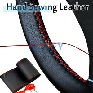 DIY Black/Red Genuine Leather Sport Car Steering Wheel Cover With Needles Thread