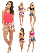 Womens High Waisted Beach Shorts Elasticated Summer Swim Shorts Holiday Size
