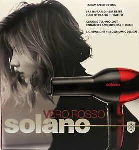 Solano Vero Rosso Infrared Ceramic Professional Lightweight Hair Dryer Red/Black