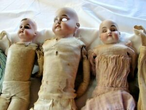 ALL FOR ONE $ ~ LOT 3 ANTIQUE BISQUE DOLLS & DOLL CLOTHES ~ needs TLC
