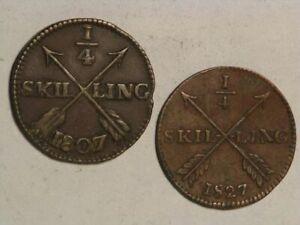 SWEDEN 1807/1827 1/4 Skilling - 2 Coins