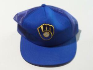 Vintage Mesh Back Milwaukee Brewers MLB Cap Snap Back Blue