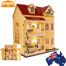 AU! Wooden DIY Doll House The Furniture Dolls Dollhouse Miniature Kit Kids Gift