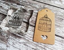 BIRD CAGE RUBBER STAMP VINTAGE STYLE WEDDING TAG