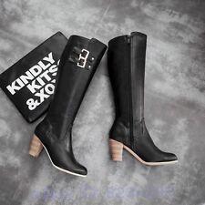 Cowboy Damen Kniehohe Stiefel Punk Gürtelschnalle hohen Absätzen Freizeit Schuhe
