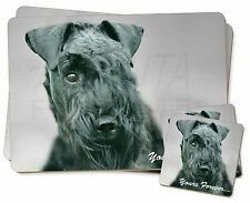 More details for kerry blue terrier 'yours forever' twin 2x placemats+2x coasters set , ad-kb1ypc