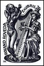 Frank Ivo Van Damme 1985 Exlibris X2 Music Harp Erotic Erotik Nude Woman 1489