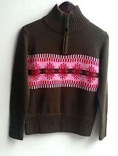 Damen Trachten Strick Pullover grün m. rosa Muster Gr. XS v. Chamonix