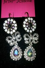 BETSEY JOHNSON FANCY BOW &CRYSTAL DANGLE LEVER BACK EARRINGS-Brand New w Tag