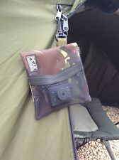 Hanging carp fishing pouch /bag with mesh pocket made from Cordura camo fabric